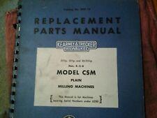 Kearney Amp Trecker Milwaukee Model Csm Milling Machines Part Manual Nos 45 Amp 6