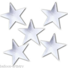 5 Hollywood Christmas Party Metallic SILVER Star 12.7cm Cutout Decorations