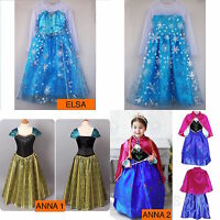 Princess Elsa Dress Fancy Costume Anna Girls Party Kids Cosplay Frozen Halloween