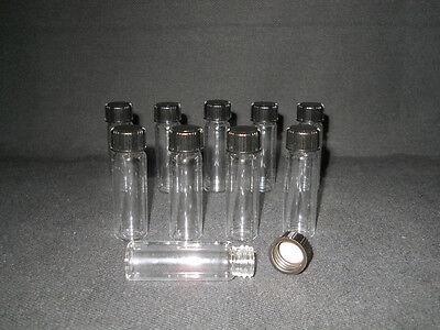 Lot (10) Kimble OptiClear 16mm x 50 Glass 1.5 Dram Sample Vials & Screw Caps