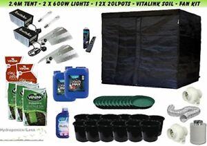 Idroponica-Completo-crescere-Kit-Tenda-2-4-m-600W-LUCE-HPS-FAN-vita-collegamento-Food-amp-Suolo