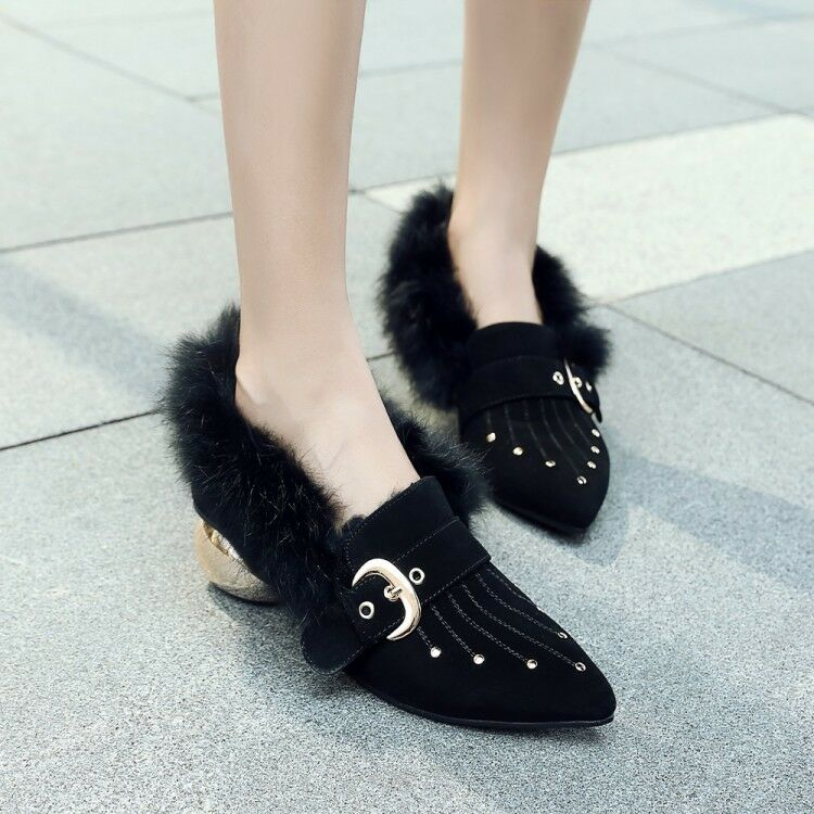 Women Pointy Toe Fur Loafers Buckle Strap Block Heels Ankle Boots shoes 2 color