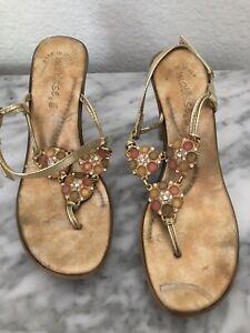 Matisse Gold Jeweled Heeled Sandals