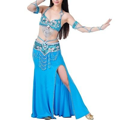 AU Belly Dance Costume 3pcs Bra&Belt&Skirt Sexy Dancing women Set dance wear