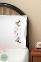 Embroidery Kit Design Works Retro Cats Floral Pillowcase Pair T232136