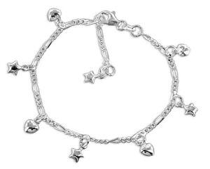 925-ECHT-SILBER-Armband-mit-Herzen-und-Sternen-16-18-cm-verstellbar