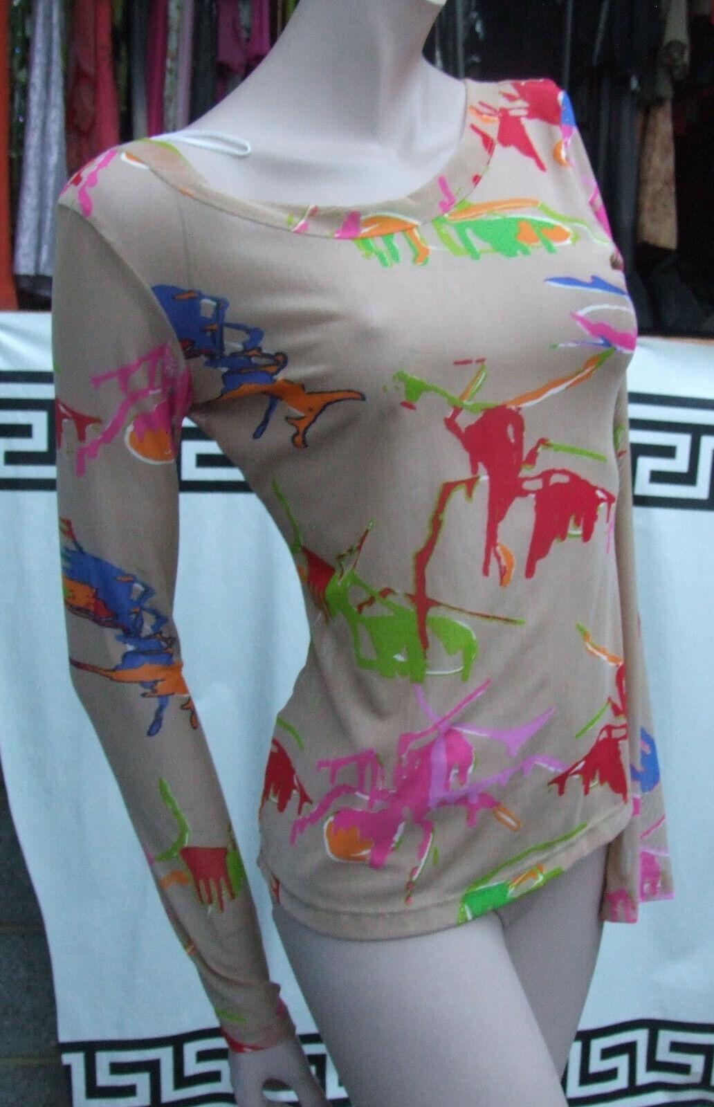 Designer Adolfo Dominguez Limited Edition S Stretch Net Colour Splash Beige Top