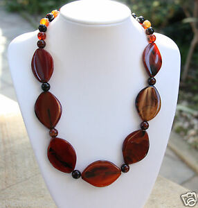 Warm-Red-Black-Brown-Agate-039-Autumn-Leaves-039-Necklace-Handmade-brand-NEW
