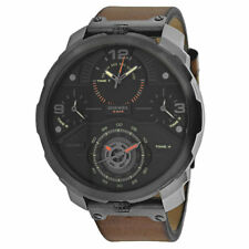 Diesel Machinus 4 Time Zone Brown Leather Strap Watch DZ7359 New Orig