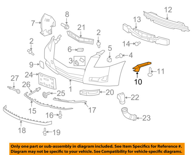20831754 New OEM Front Fascia Reinforcement RH 2008-2015 Cadillac CTS