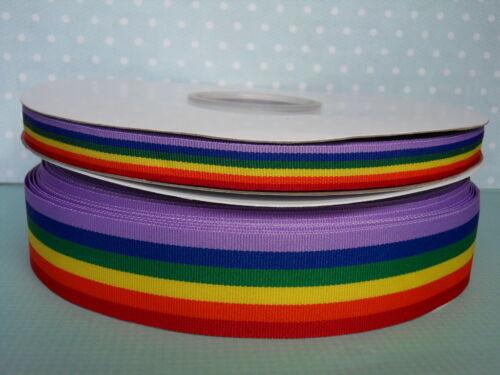 Rainbow Ribbon Gay Pride Ruban Choix de Largeur /& ENVOI GRATUIT