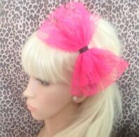 BIG BRIGHT NEON PINK LACE BOW ALICE HAIR HEAD BAND 80s RETRO PARTY FANCY DRESS
