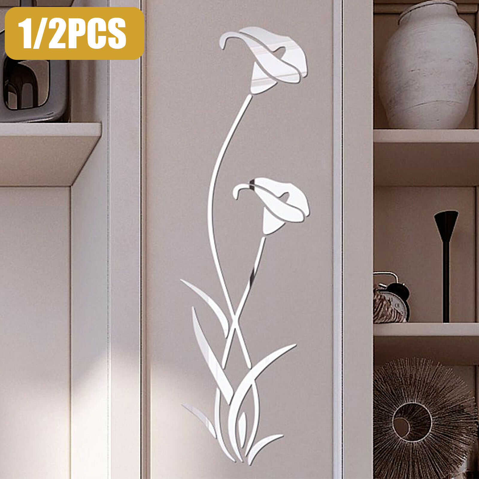 Removable 3D Mirror Flower Wall Sticker Acrylic Mural Decal Home Room Decor s5