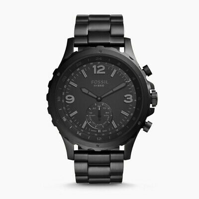 Fossil FTW1115 Mens Q Nate Black Hybrid Smartwatch