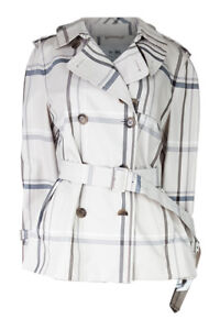 COACH-Women-039-s-Cream-Double-Breasted-Belted-Checked-Trench-Coat-L