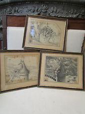 3 anciennes gravures epoque 19 eme les contes de perrault barbe bleue encadrées