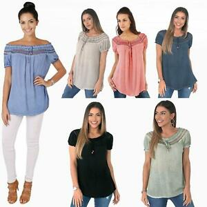 Womens-Off-Shoulder-Blouse-Gypsy-Boho-Cotton-T-Shirt-Top-Tunic-Summer-Loose-Fit