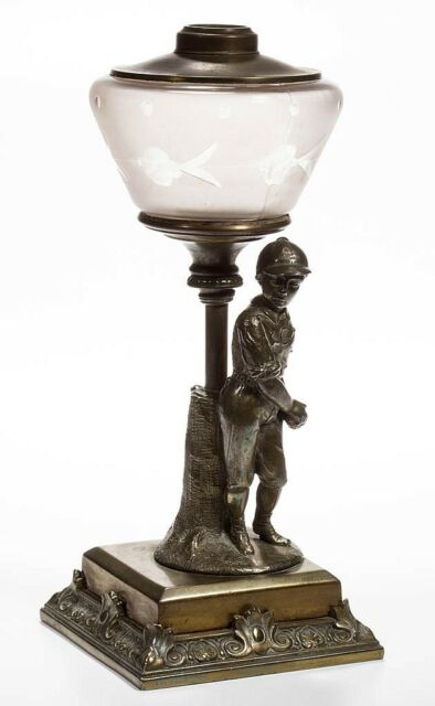 """E. MILLER & CO. NO. 287 """"CHICAGO"""" BASEBALL FIGURAL KEROSENE STAND LAMP Lot 469"""
