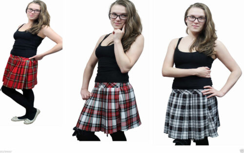 NEW WOMENS RED LADIES CHECK TARTAN SKATER MINI SKIRT ELASTICATED WAIST SIZE 8-16