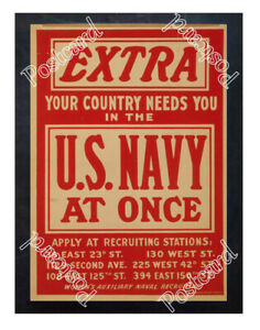 Historic-WWI-Recrutiment-Poster-Extra-U-S-Navy-at-once-Postcard