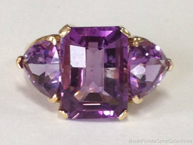 ESTATE JEWELRY LADIES HUGE AMETHYST RING 14K YELLOW GOLD BAND SIZE 8