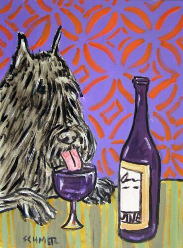bouvier des flandres at the wine bar dog art notecard envelope set