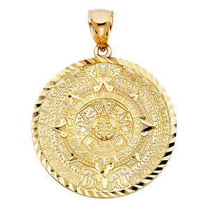 Details about  /GOLD Aztec pendant 14k REAL SOLID Yellow Calendar mayan Azteca Necklace medium