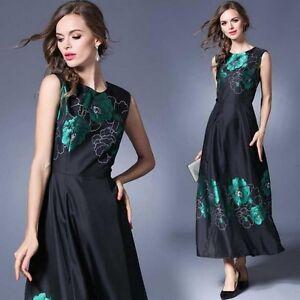 new arrival 79b45 6cc60 Dettagli su Elegante raffinato abito nero verde fiori classico scampanato  morbido lungo 3479