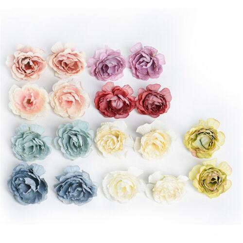 5//10Pcs Vintage Silk Artificial Peony Flower Heads Wedding Party Home Decor 5cm