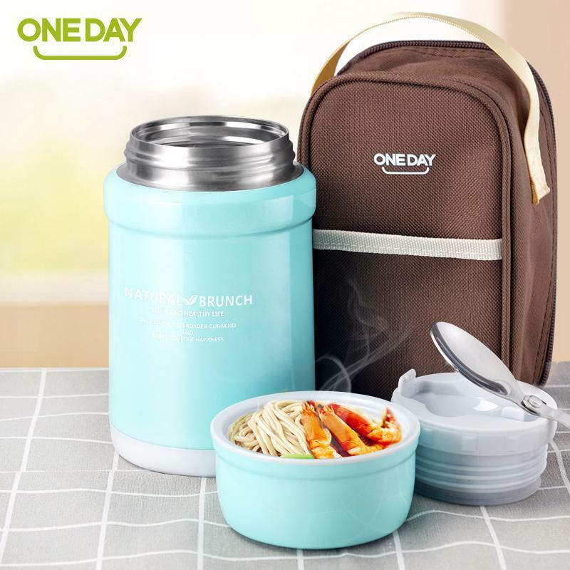 Food Container Vacuum Flask Food Thermos Bottle with Thermo Bag Stainless Steel