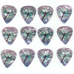 12-Pack-DRAGONFLY-PURPLE-Colorful-Medium-Gauge-Dragon-Fly-Guitar-Picks
