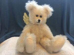"""WINEY BEARS by SALLY WINEY 12 1/2""""  Signed Ivory mohair Bear with Gold wings"""