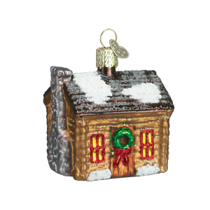 Old-World-Christmas-LOG-CABIN-20015-N-Glass-Ornament-w-OWC-Box