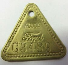 FORD MOTOR CO Detroit Vintage Brass FORD Auto Factory Property Tag