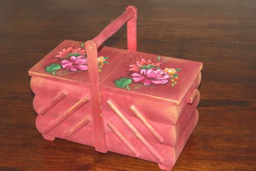 Hathaway nähkasten cesta de coser nähkiste mano pintado diafragma grande de madera Nuevo