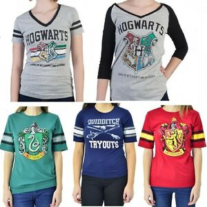 8f596b81b36 Image is loading HARRY-POTTER-Hogwarts-Crest-Quidditch-Slytherin-Gryffindor -juniors-