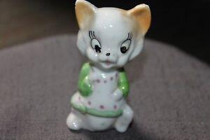 Vintage Ceramic Porcelain Whimsical Cat Figurine Made in Japan