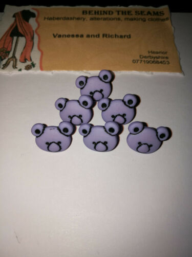 Novelty Bear head shank buttons 15mm baby full colour range children