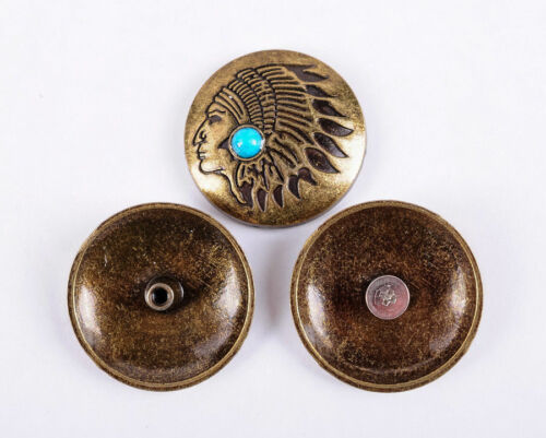 10pcs Turquoise Native America Indian Coin Leathercraft Conchos Brass Screw Back