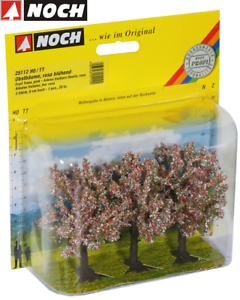 NOCH-25112-Fruit-Trees-Pink-Flowering-8-CM-High-3-Piece-New-Boxed