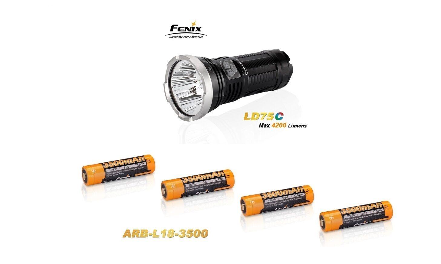 Fenix LD75 C + 4 Fenix ARB-L18 3500mAh Akku´s Neu OVP