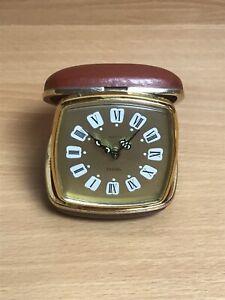 Vintage SMITHS Travel Alarm CLOCK Red Leather Case Luminous Glow Dark