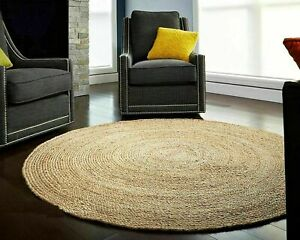 Natural-Jute-Hand-Woven-Round-Braided-Reversible-Modern-look-Floor-Rug-Carpet