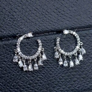 18k-white-gold-made-with-Swarovski-crystal-stud-925-silver-round-tassel-earring