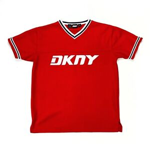 DKNY Vintage 90s Graphic Spellout Jersey T-Shirt Grunge Sz M