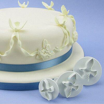3Pcs Dove Fondant Cake Cookie Paste Sugarcraft Plunger Cutter Decorating Mold US