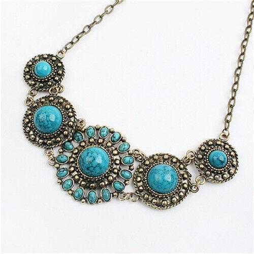 Women Bohemian Fashion Pendant Chain Chunky Collar Statement Bib Flower Necklace