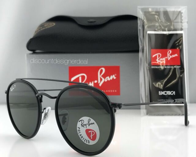 76badf684f6e8 Ray-Ban Round Double Bridge RB3647N 002 58 Sunglasses Black Green Polarized  51mm