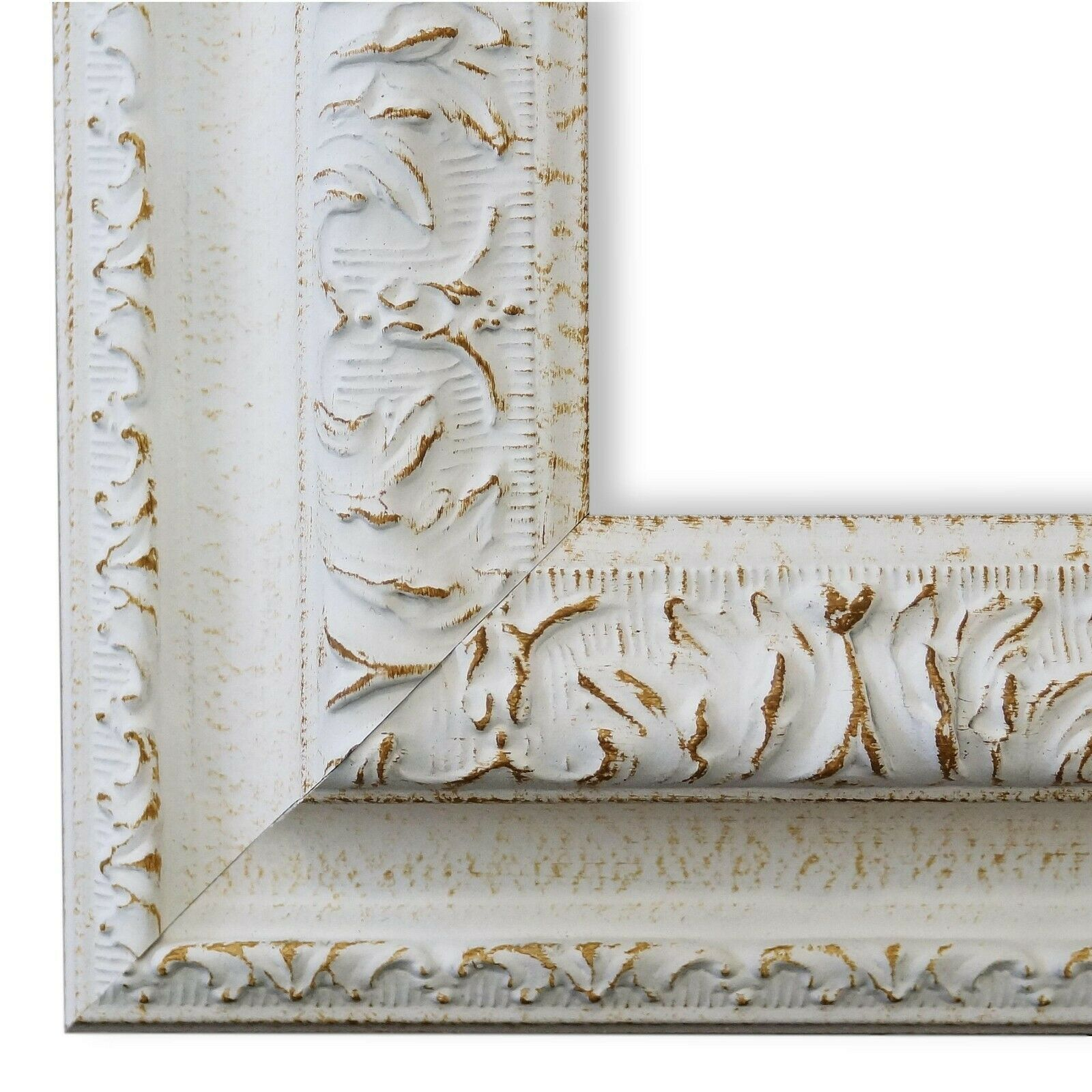 Bilderrahmen Rahmen Weiss Barock Vintage Holz Rom 6,5 - NEU alle Größen