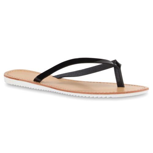 Damen Zehentrenner Beach Schuhe Lack Flats Sandalen 76807 Trendy